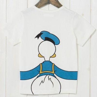 唐老鴨抱抱純棉短袖T恤-兒童-白
