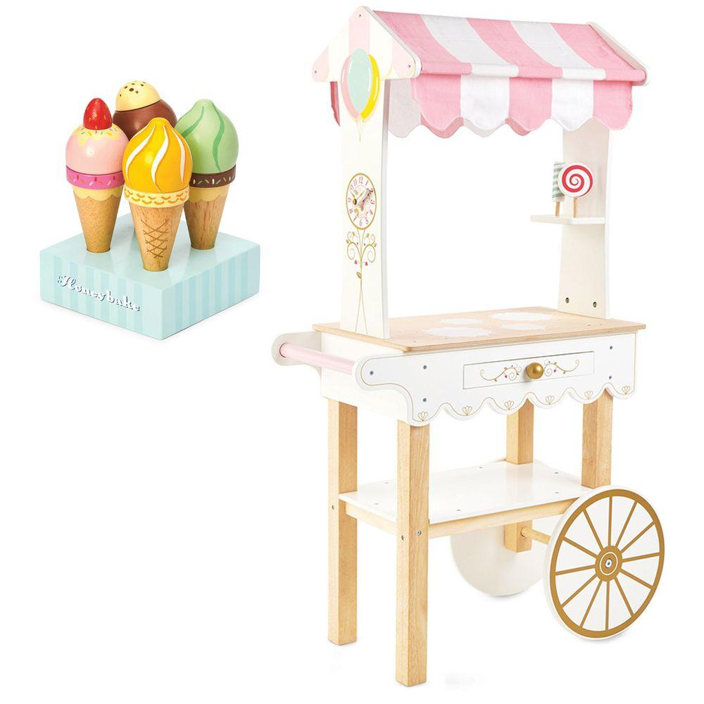 英國 Le Toy Van - 角色扮演 - 夢幻甜點餐車大型玩具組-送甜筒冰淇淋玩具一組