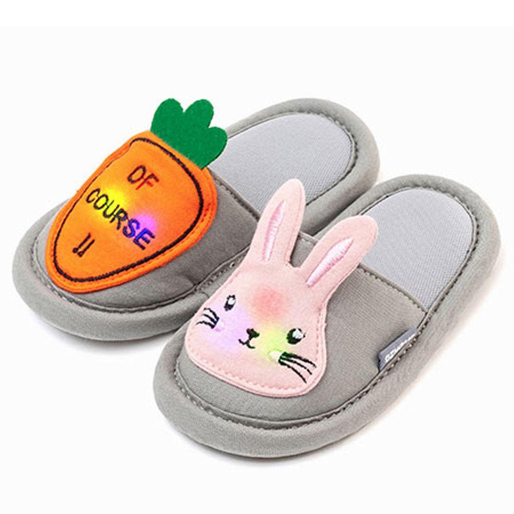 韓國 OZKIZ - 消音防滑室內鞋-LED閃耀蔬果款-灰色紅蘿蔔