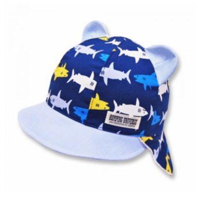 日本製小鯊魚後頸防曬帽(附彈性帽帶)-深藍
