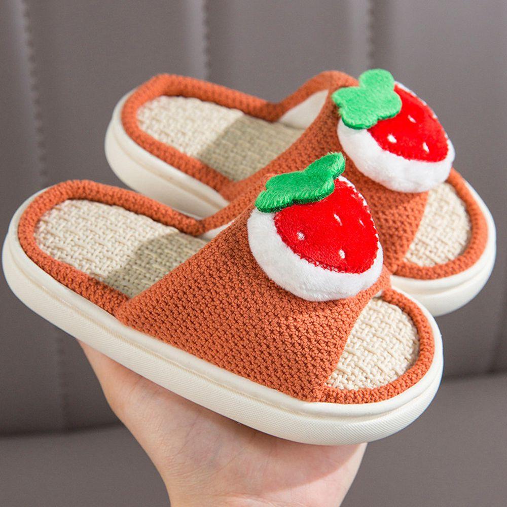 兒童款亞麻室內拖鞋-立體水果-橘色