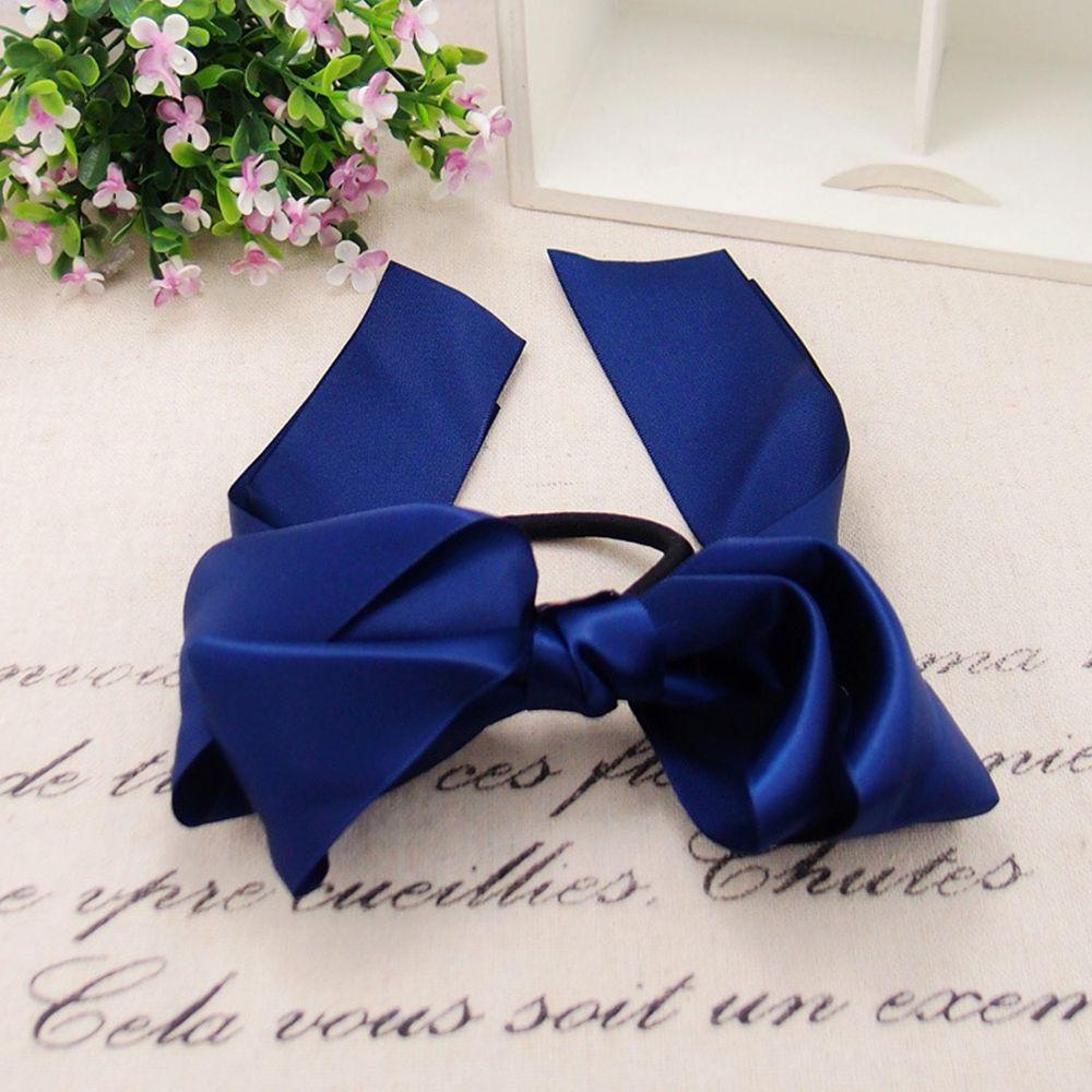 光澤感緞帶蝴蝶結髮圈-寶藍色