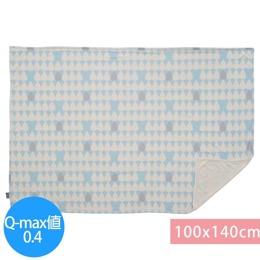 日本小泉 - 節電對策冷感薄毯-雨點-水藍 (100x140cm)