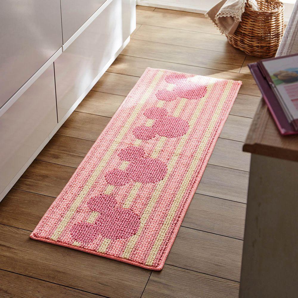 日本千趣會 - 迪士尼 日本製 長條型防滑腳踏墊(廚房/臥室)-米奇頭橫條紋-粉紅