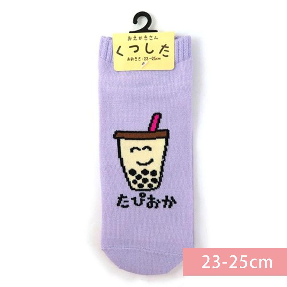 日本 OKUTANI - 童趣日文插畫短襪-珍珠奶茶-紫 (23-25cm)
