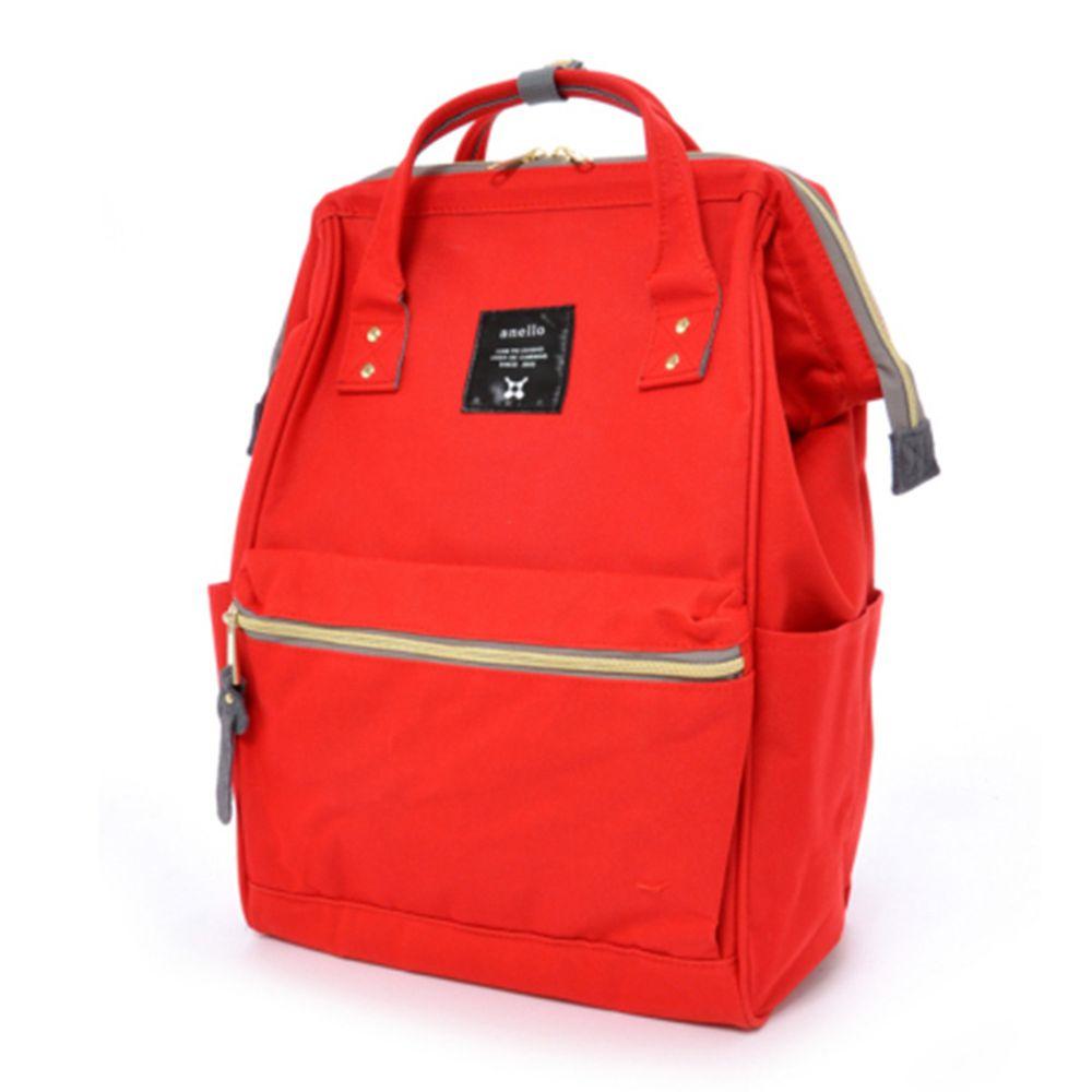 日本 Anello - 日本大開口牛津布後背包-Regular大尺寸-RE亮紅