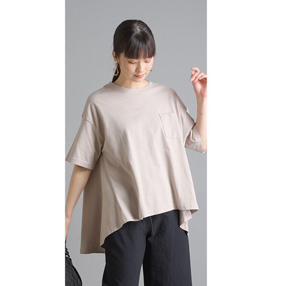 日本女裝代購 - 前短後長寬鬆衣襬純棉短T-粉杏 (Free size)