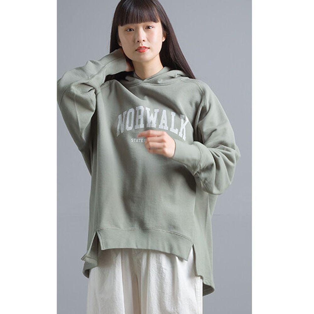 日本女裝代購 - 前短後長純棉裏毛字母帽T-灰綠