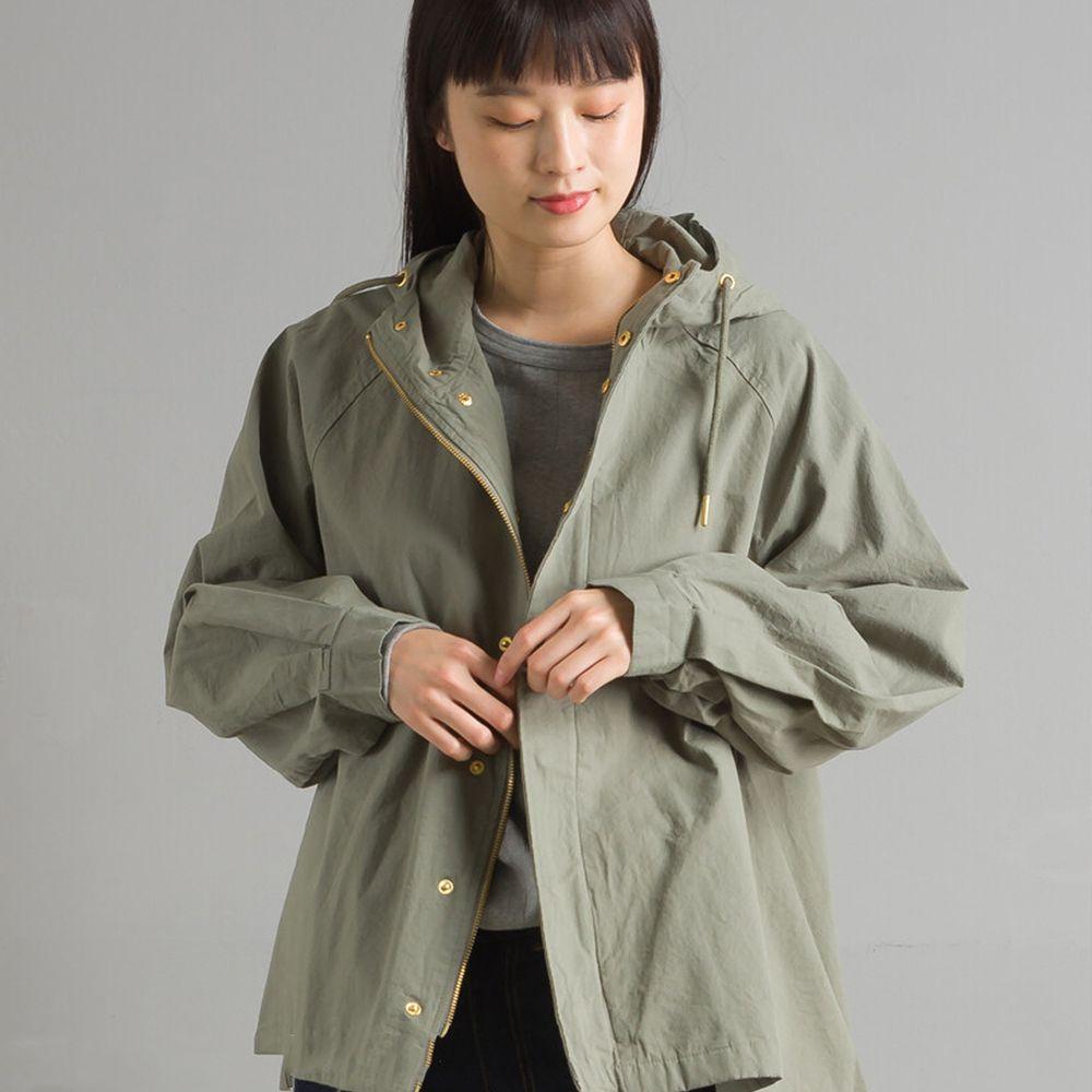 日本女裝代購 - 復古洗舊純棉連帽風衣外套-卡其