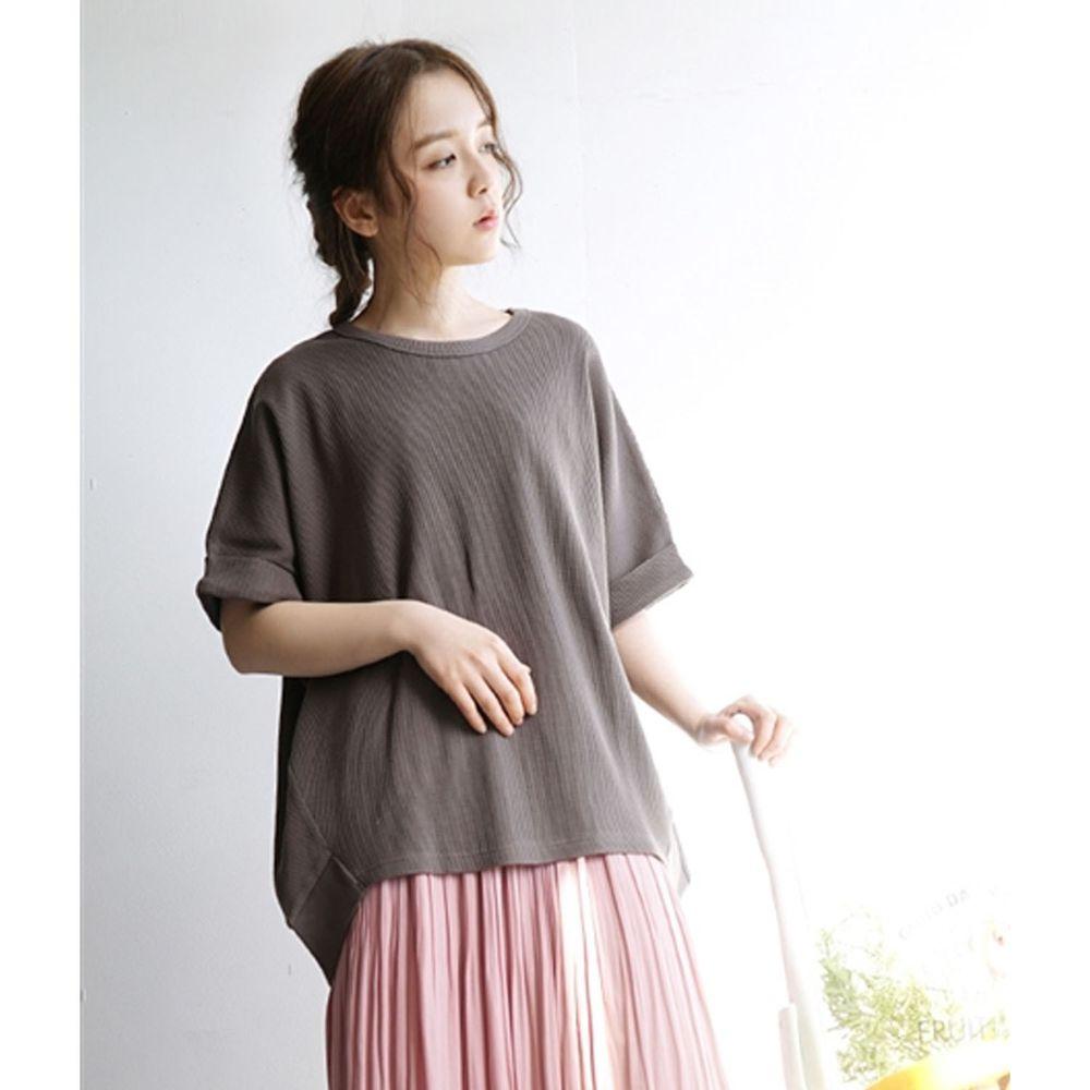 日本 zootie - 純棉鬆餅紋顯瘦五分袖寬版上衣-深灰