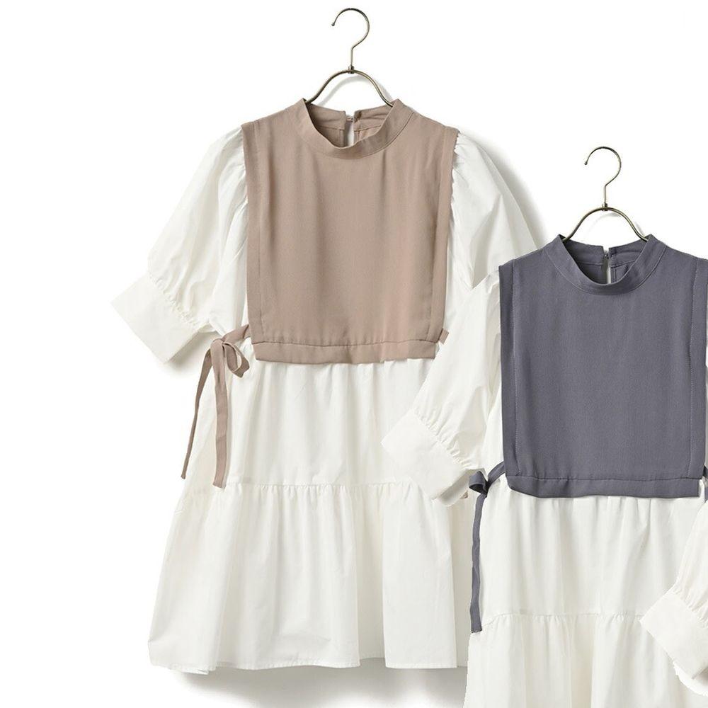 日本 ELENCARE DUE - 假兩件綁帶背心五分袖長版蛋糕上衣-杏