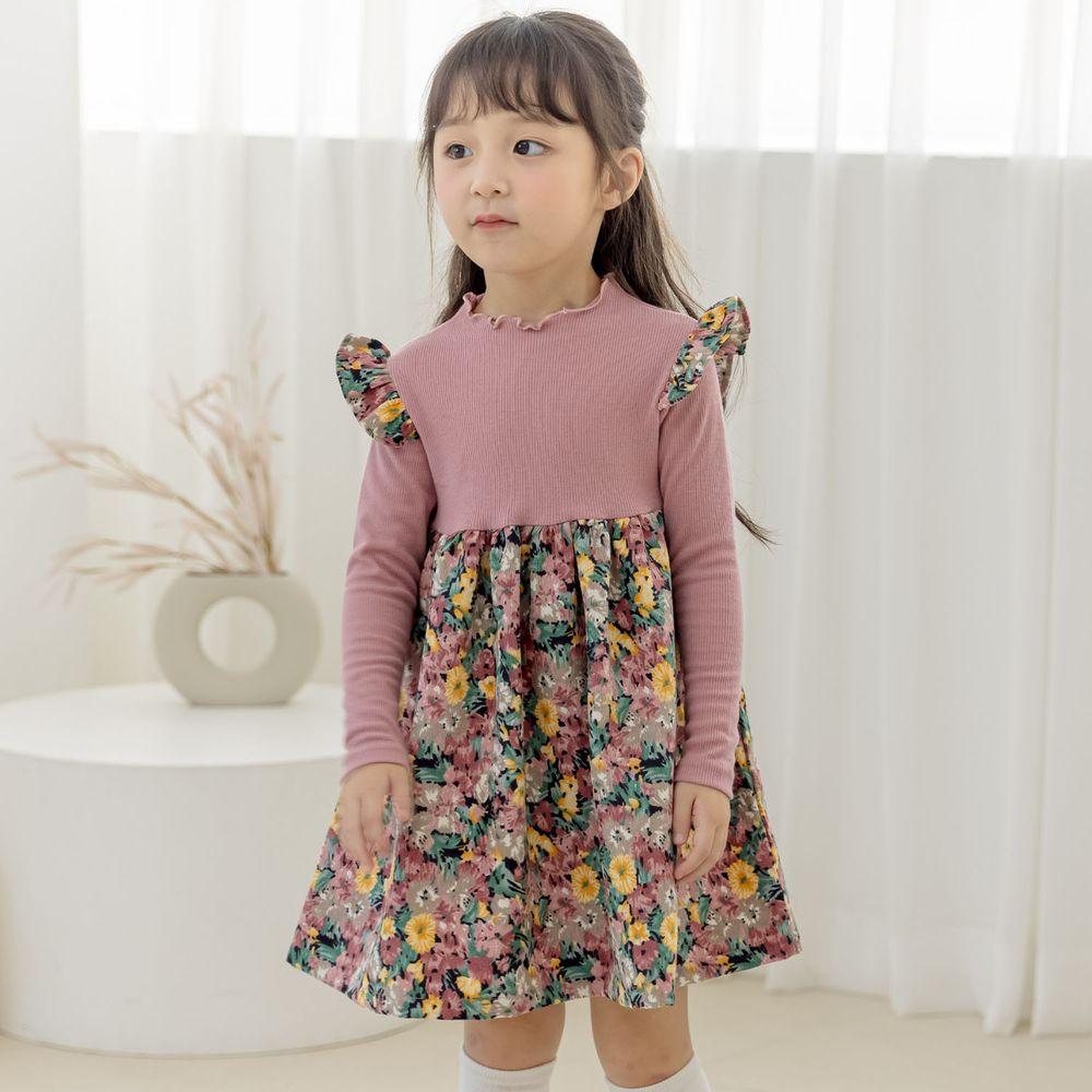 韓國 Orange Mom - 彩色花花針織拼接洋裝-玫瑰粉