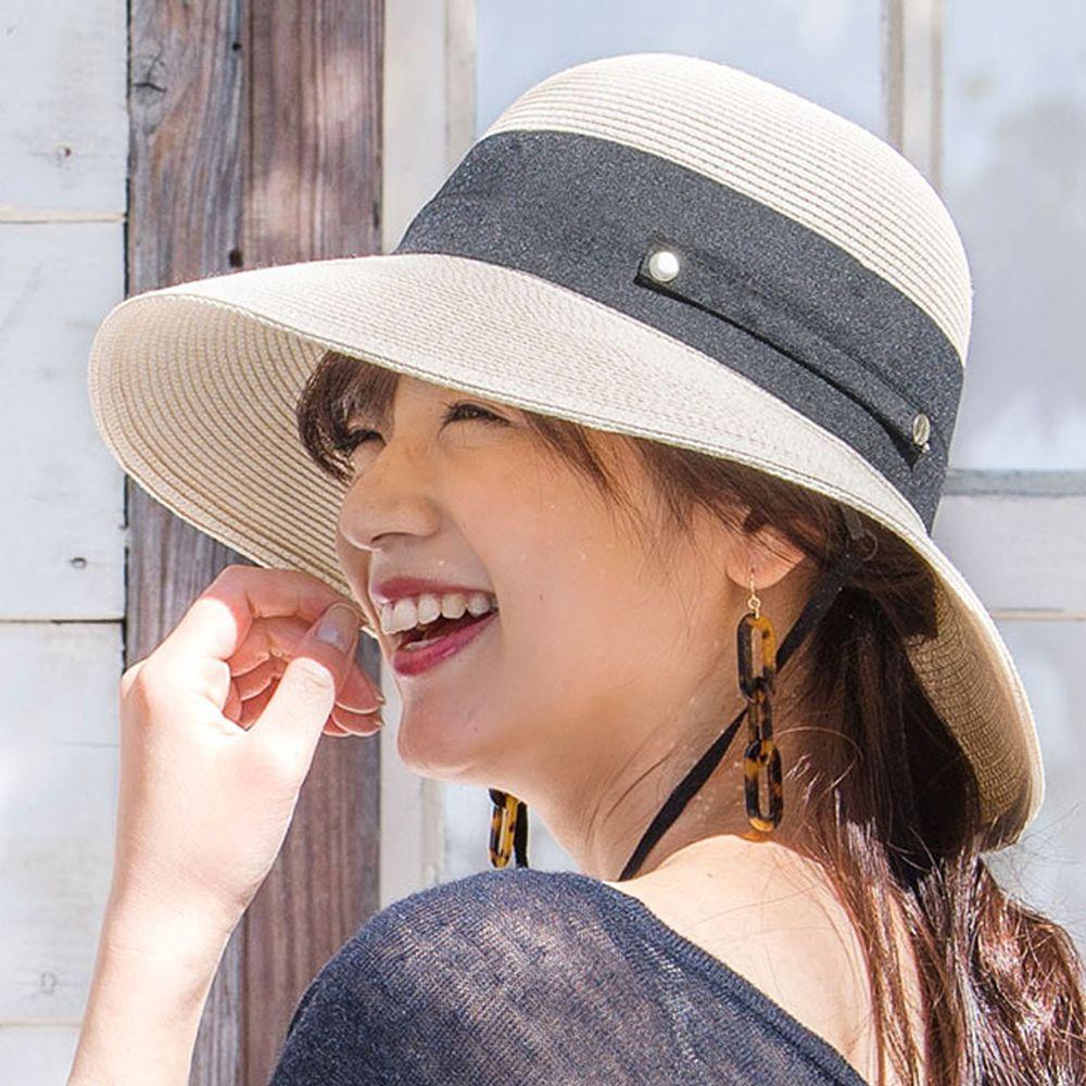日本服飾代購 - 【irodori】抗UV可捲收 大緞帶遮陽草帽(附防風帽帶)-米白X黑緞帶