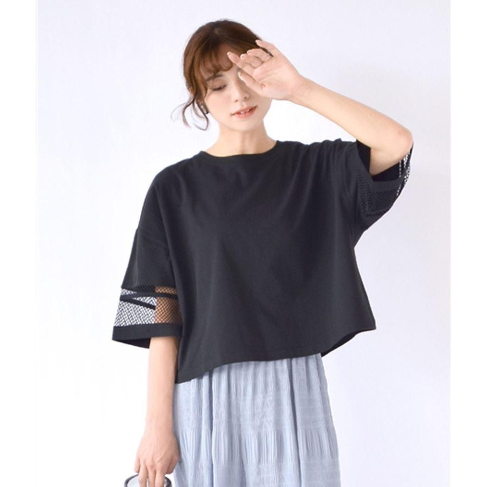 日本 zootie - 網格拼接五分袖寬版上衣-黑