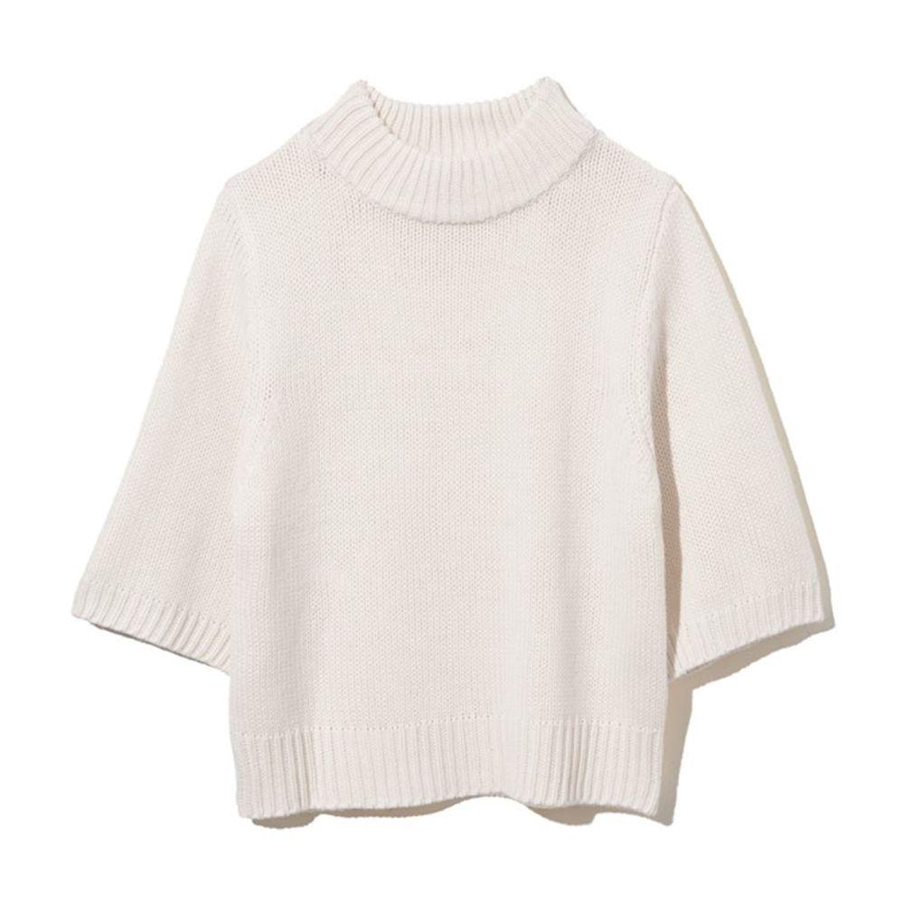 日本 GRL - 寬版顯瘦小高領七分袖針織上衣-米
