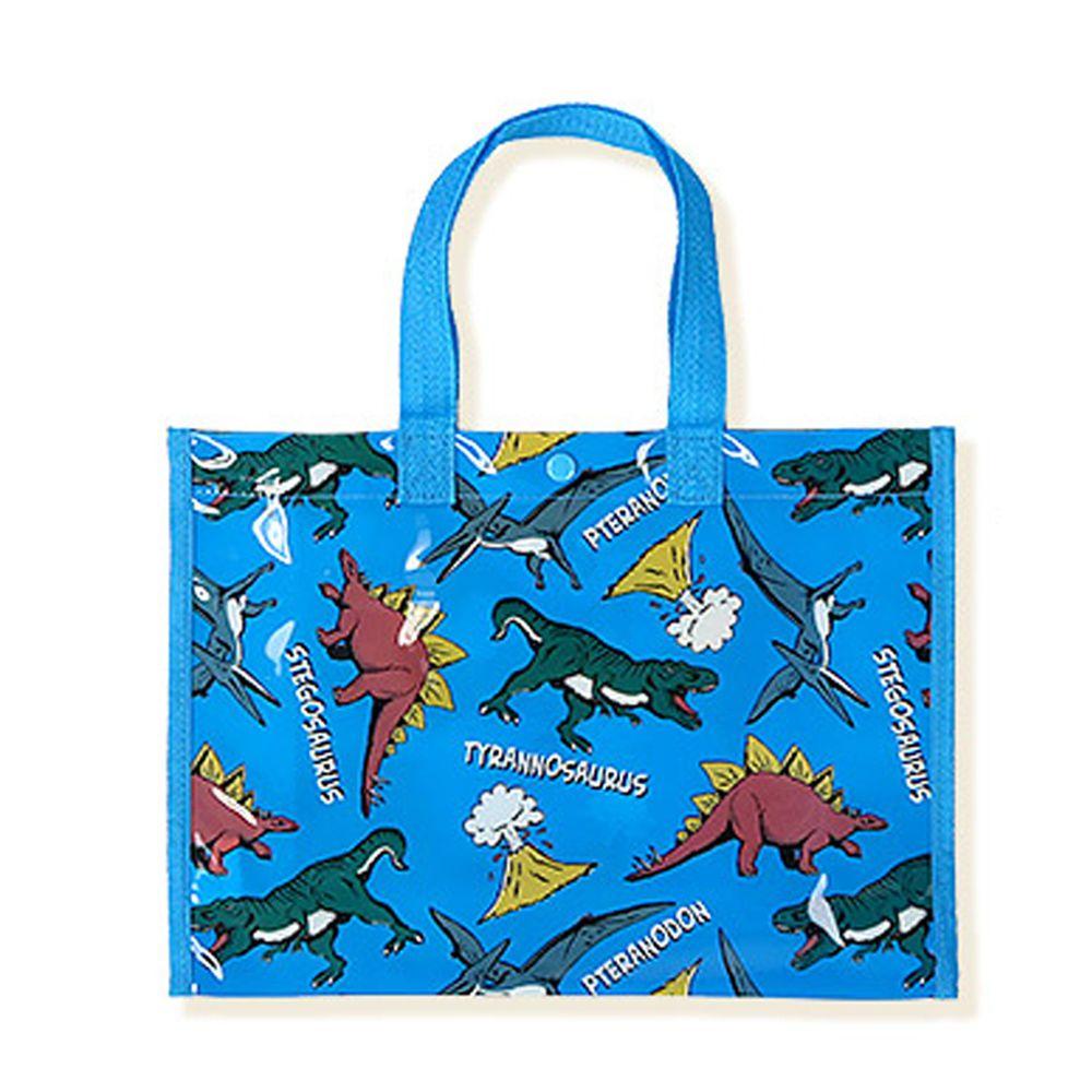 日本 ZOOLAND - 防水PVC手提袋/游泳包-G恐龍世界-藍 (25x34x11cm)