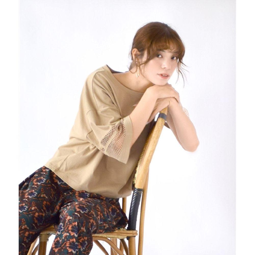 日本 zootie - 網格拼接五分袖寬版上衣-杏
