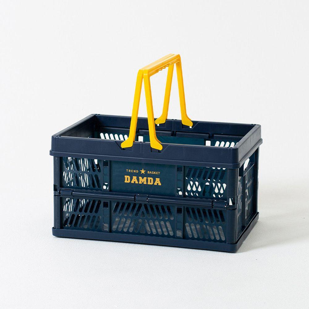 韓國 Damda - 折疊手提收納籃-大-深藍-尺寸:43.5X30.5cm, 容量32L