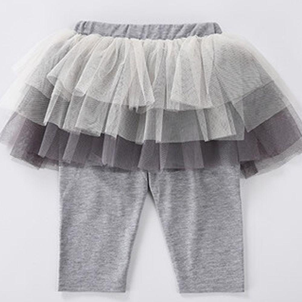 日本 Maison de Ravi - 漸層薄紗七分內搭褲裙-氣質灰