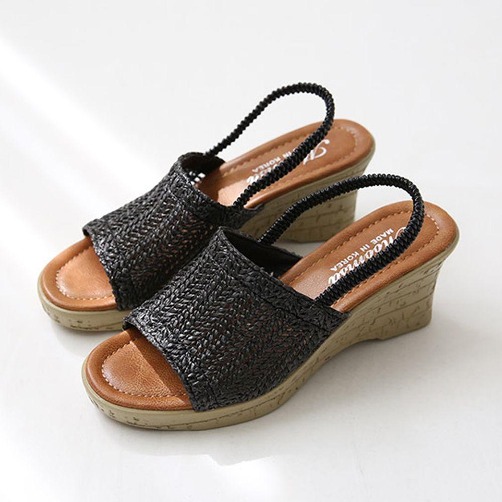 韓國 Dangolunni - 編織面械型涼鞋(7cm高)-黑