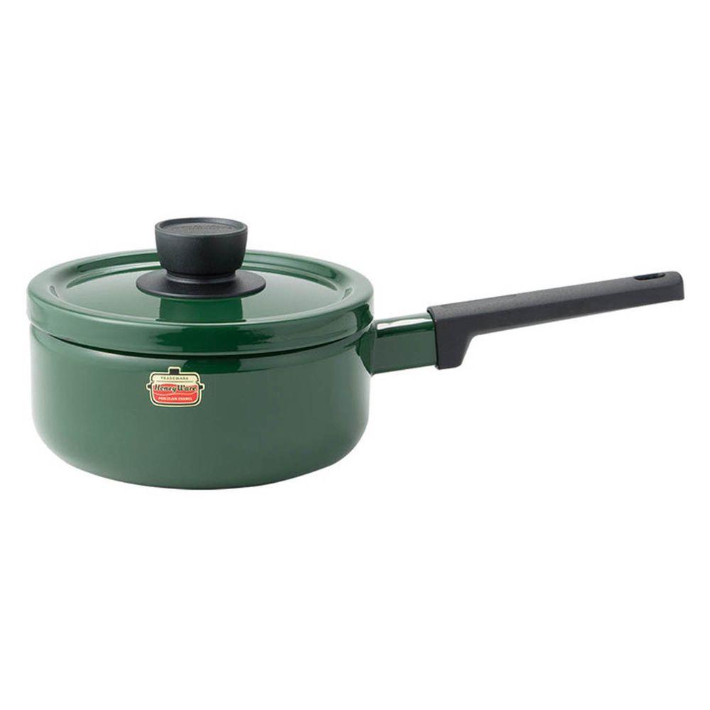 FUJIHORO 富士琺瑯 - Solid 經典系列-18cm單柄附蓋琺瑯調理鍋-森林綠-容量:2.2L 重量:1.25kg