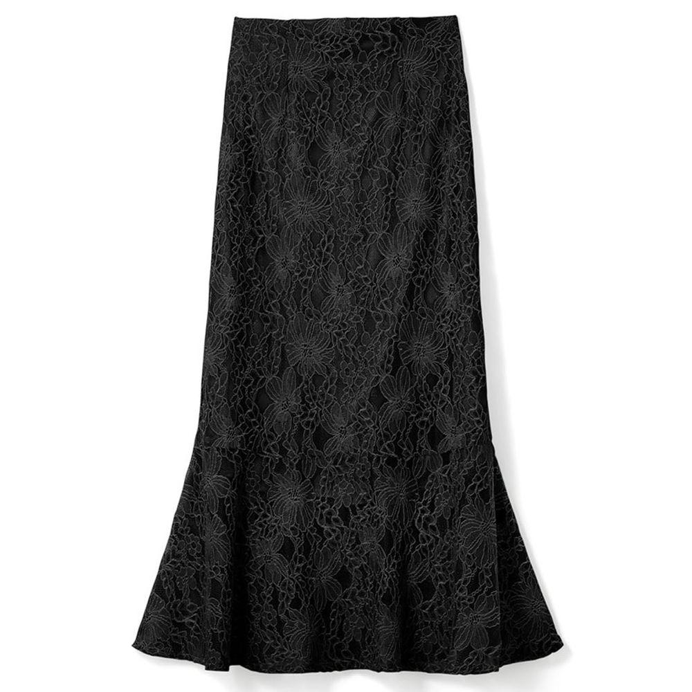 日本 GRL - 古典優雅蕾絲魚尾長裙-時尚黑