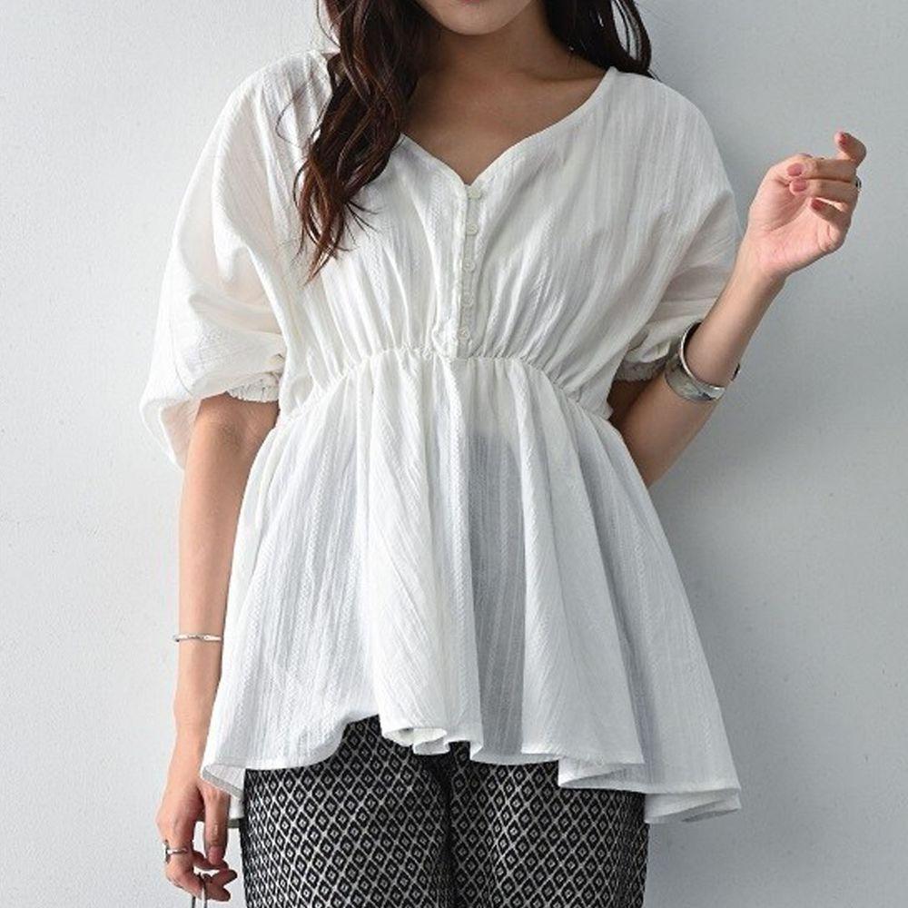 日本 ELENCARE DUE - 純棉 浪漫V領縮腰五分袖上衣-白
