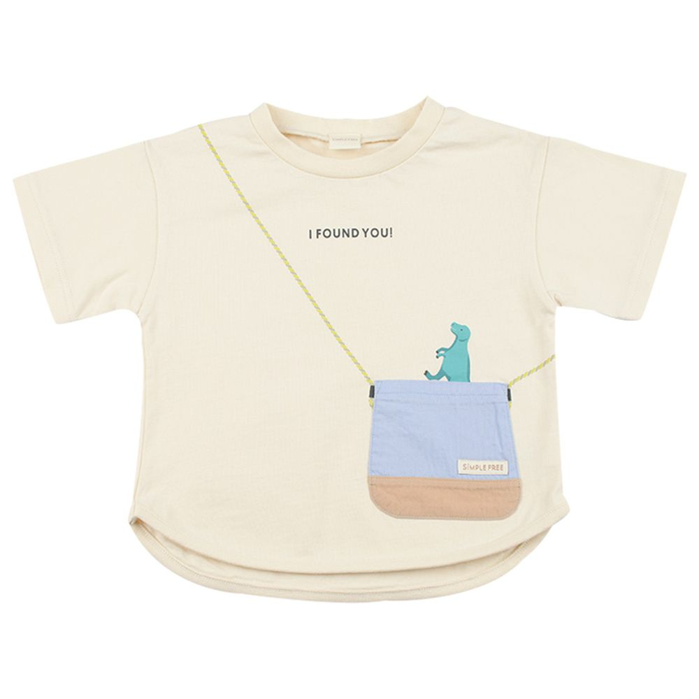 akachan honpo - 短袖趣味T恤-動物刺繡-象牙白色