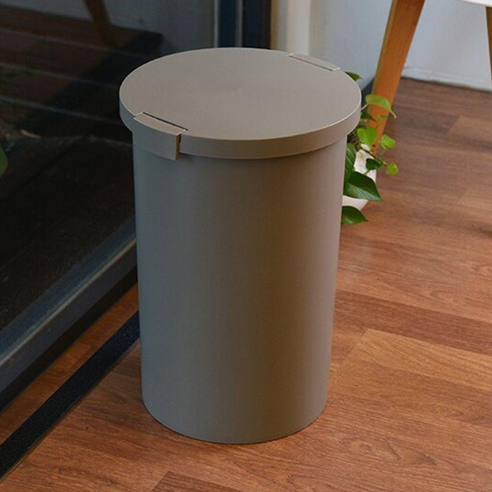 日本岩谷Iwatani - 日本製圓形封扣蓋室內/室外防臭垃圾桶-26L-灰