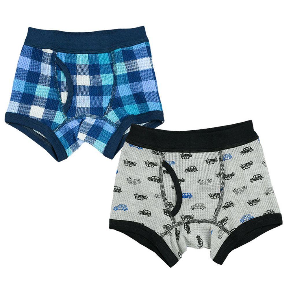 akachan honpo - 四角褲2件組-汽車、格紋-灰色
