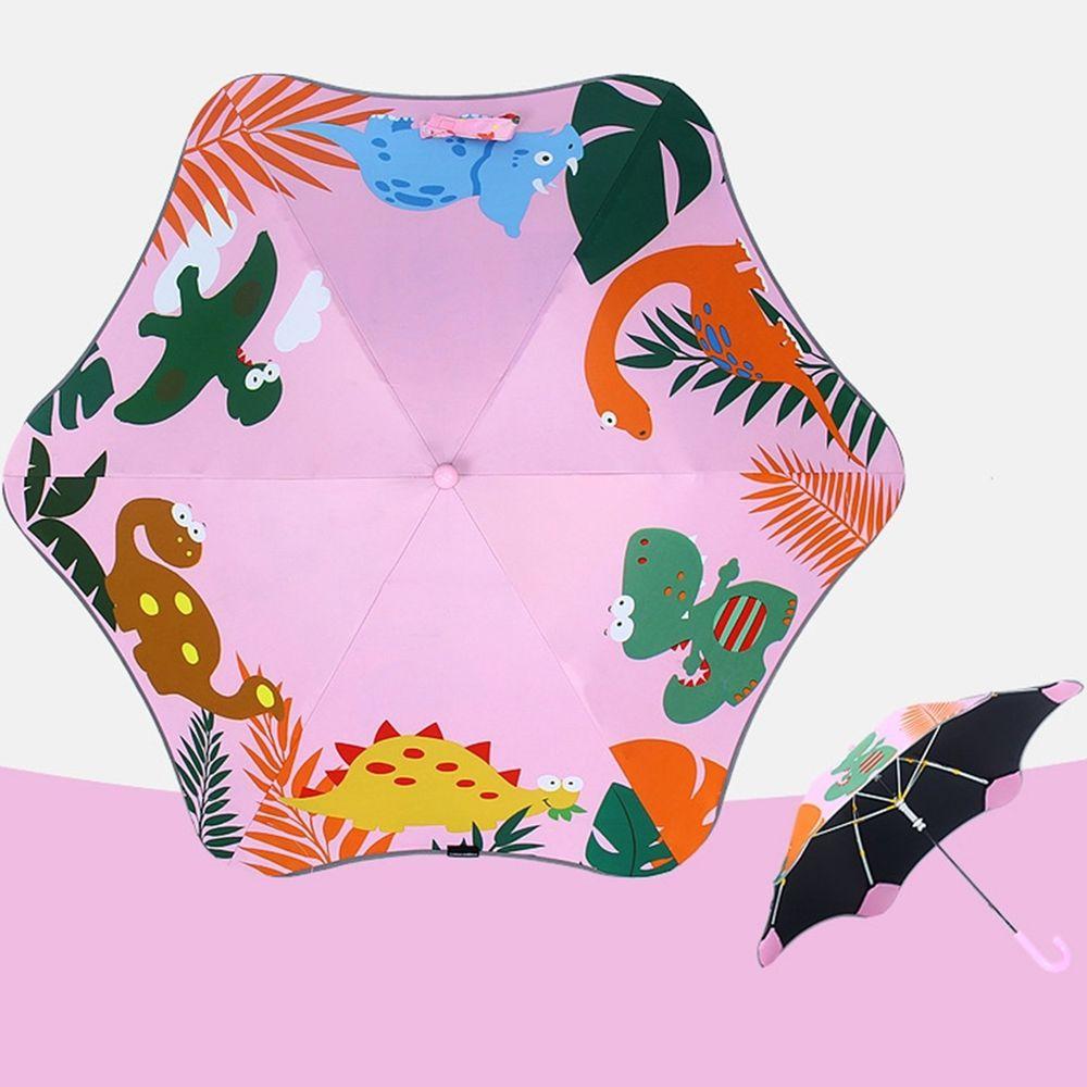 兒童圓角反光雨傘-恐龍-粉
