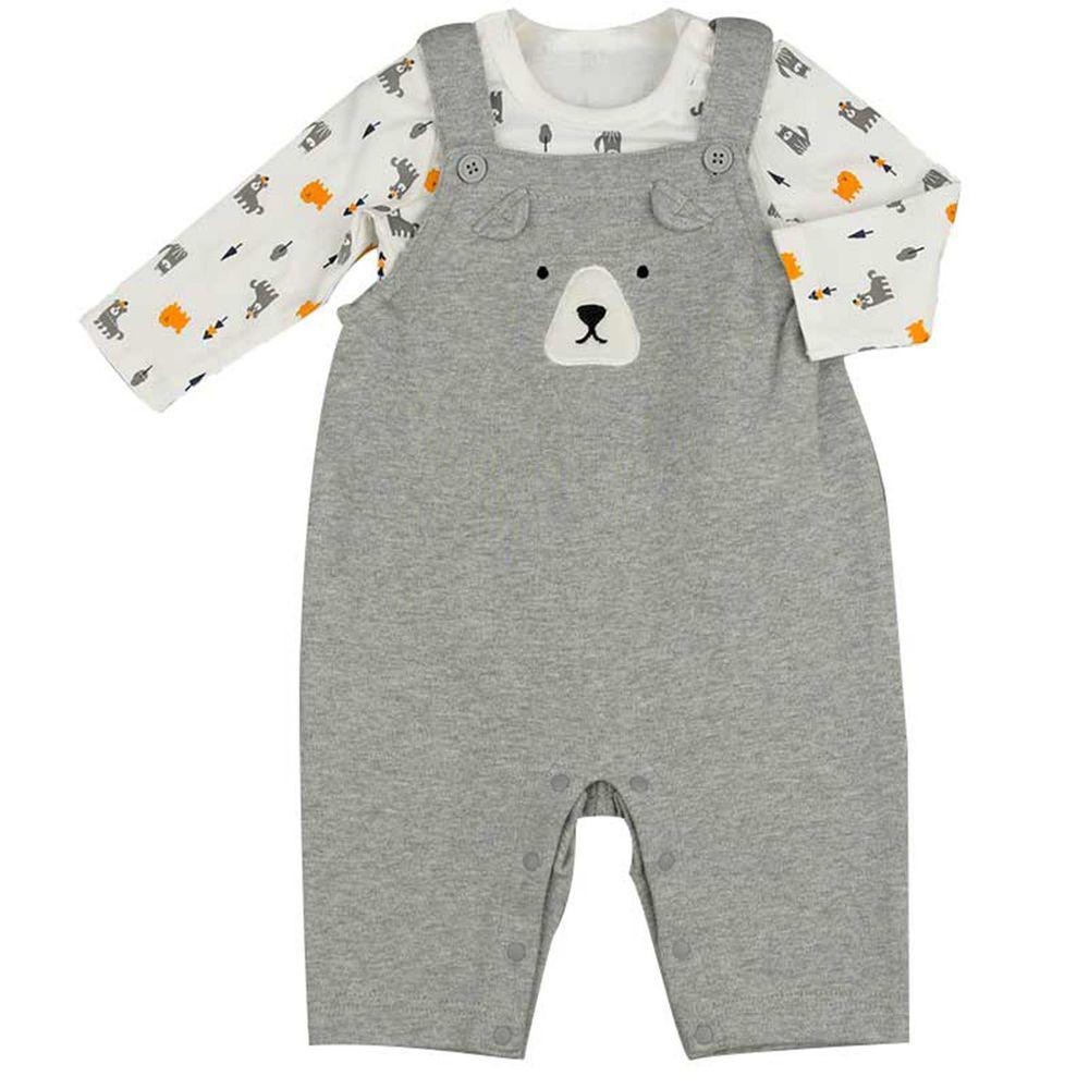 akachan honpo - 男吊帶褲+T恤-灰色