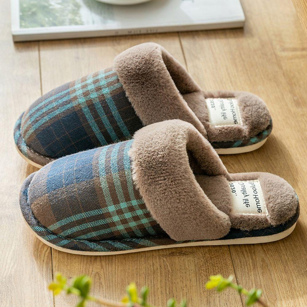 日系格紋防滑保暖棉拖鞋-深藍