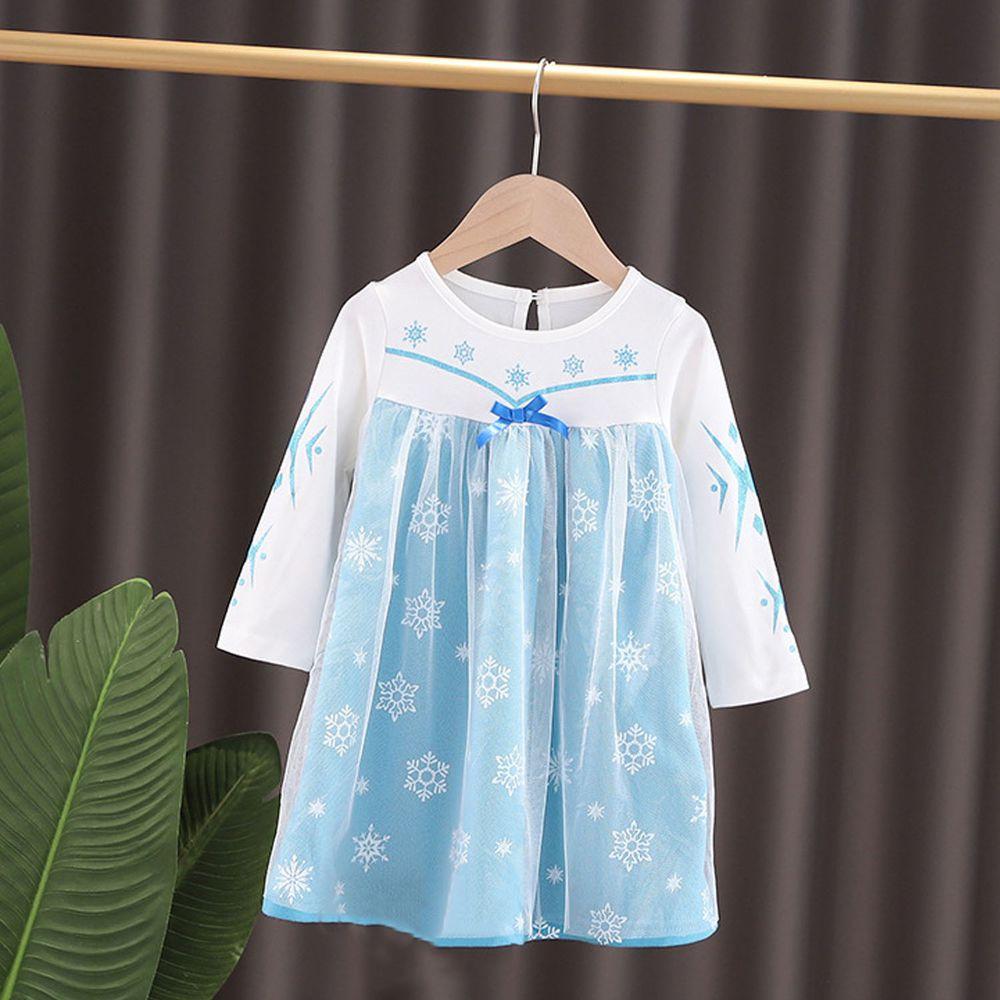 長袖造型公主裙-薄紗藍白