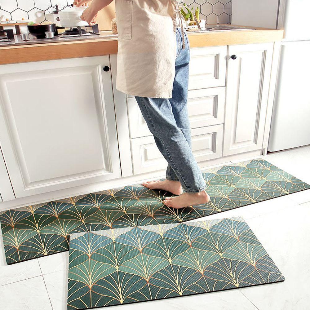 廚房仿皮革PVC防水腳踏墊-翡翠金扇