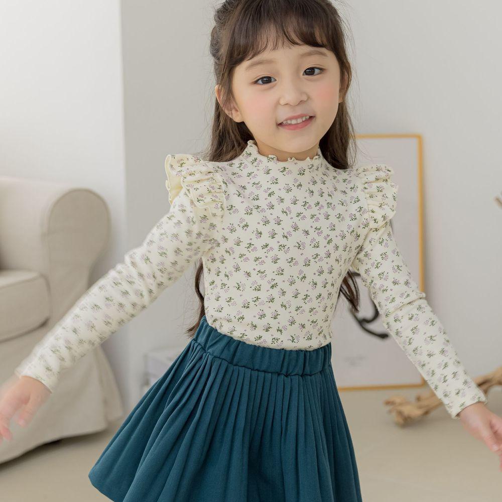 韓國 Orange Mom - 荷葉袖香草花朵上衣-米白