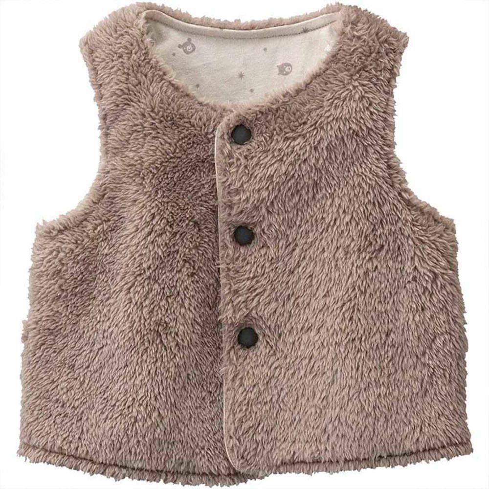 日本 Combi - mini系列-珊瑚绒雙面穿保暖背心-可可棕