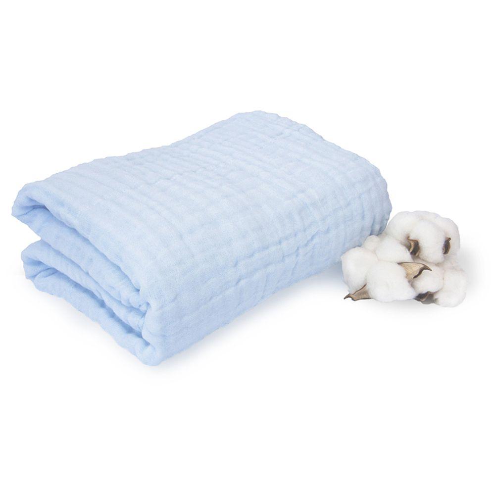 L'ange - 棉之境 6層純棉紗布浴巾/蓋毯-粉藍 (70x95cm)
