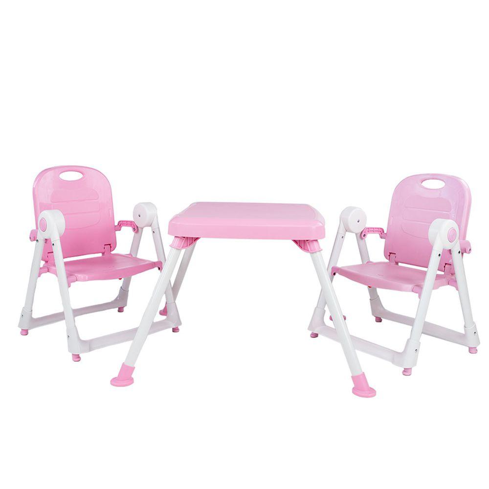 美國 ZOE - 兩椅一桌雙人組合-附白色小餐盤-櫻花粉