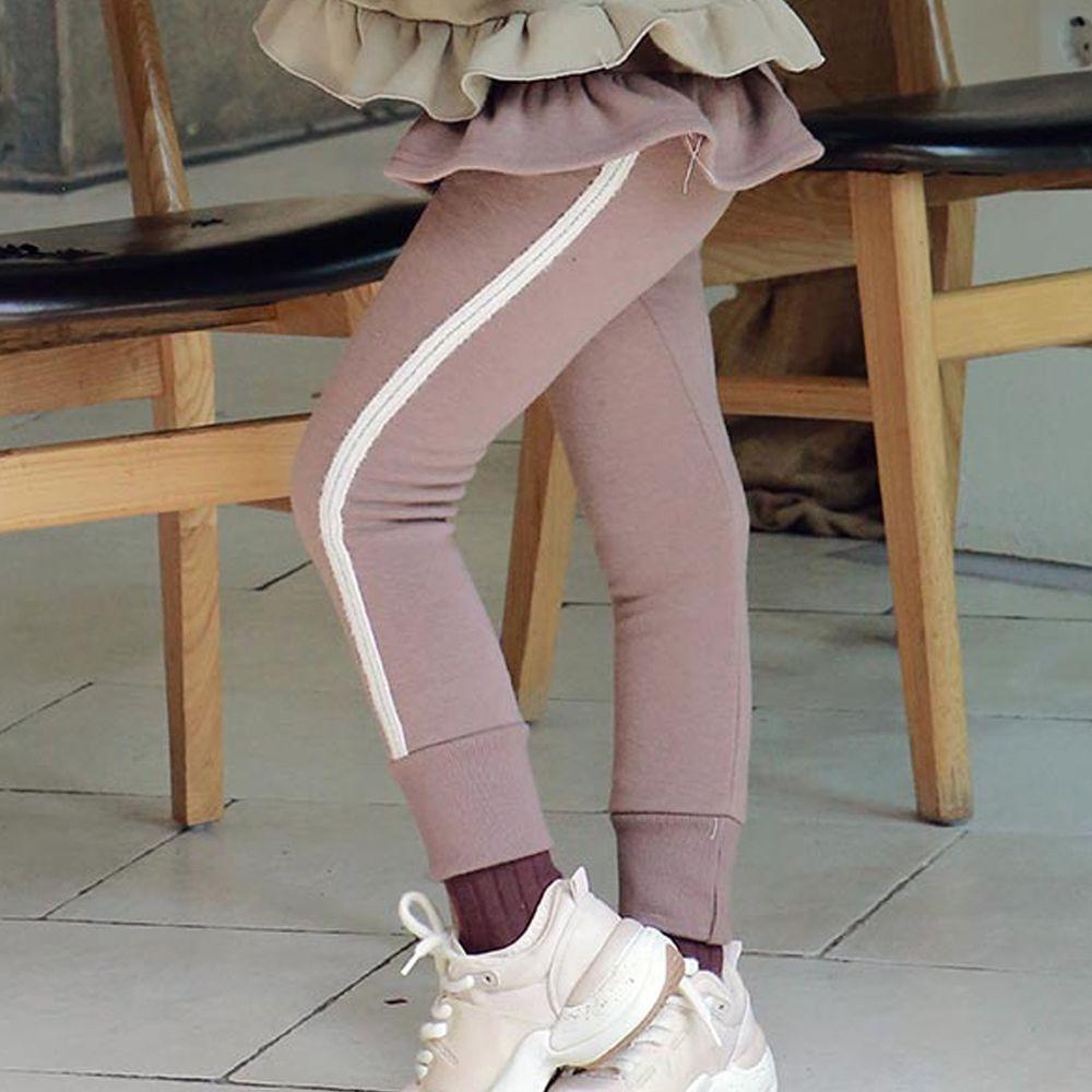 韓國 PuellaFLO - 荷葉裝飾白邊縮褲管長褲-可可