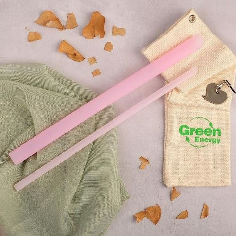 GreenEnergy綠吸能 - 可拆洗環保全矽膠吸管-粉色