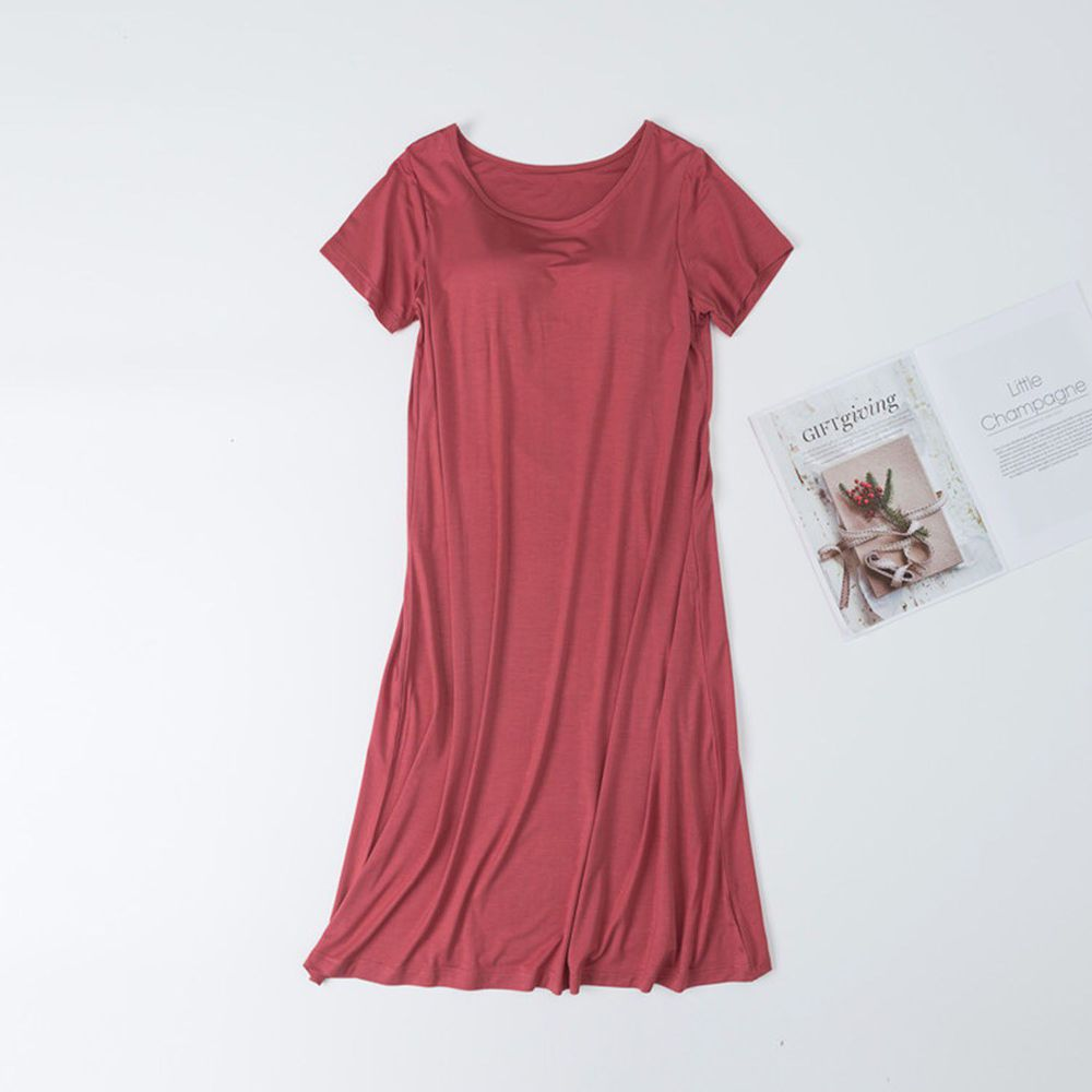 莫代爾柔軟涼感Bra T睡裙-磚紅色