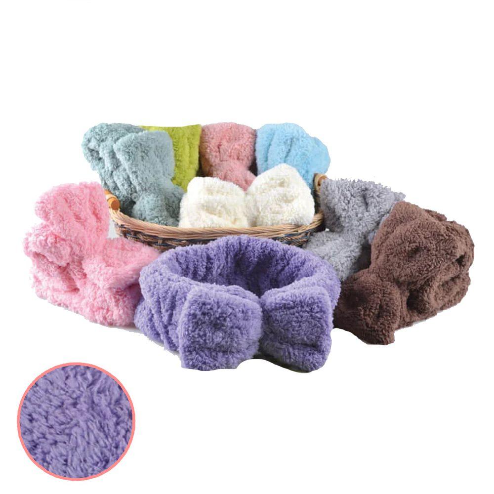 貝柔 Peilou - 超強十倍吸水超細纖維抗菌速乾髮帶-輕柔紫 (25(半徑)*7cm)
