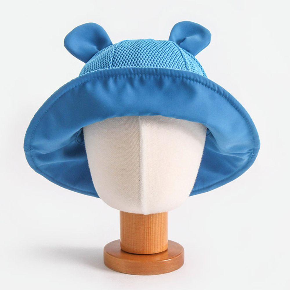 韓國 Babyblee - 小耳朵網格透氣遮陽帽-藍 (頭圍:46-50cm)