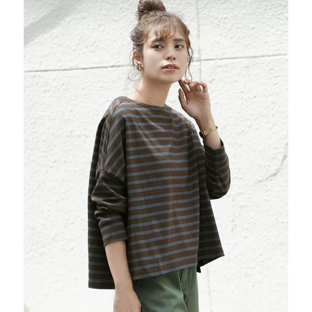 日本 zootie - [撥水/撥油加工] 抗油污耐洗純棉長袖上衣-條紋-咖啡藍