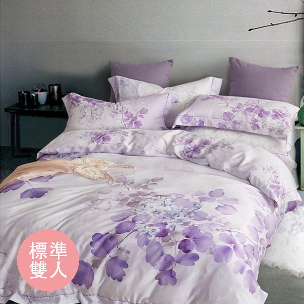 飛航模飾 - 裸睡天絲加高版床包組-嫣紫(雙人床包兩用被四件組) (標準雙人 5*6.2尺)