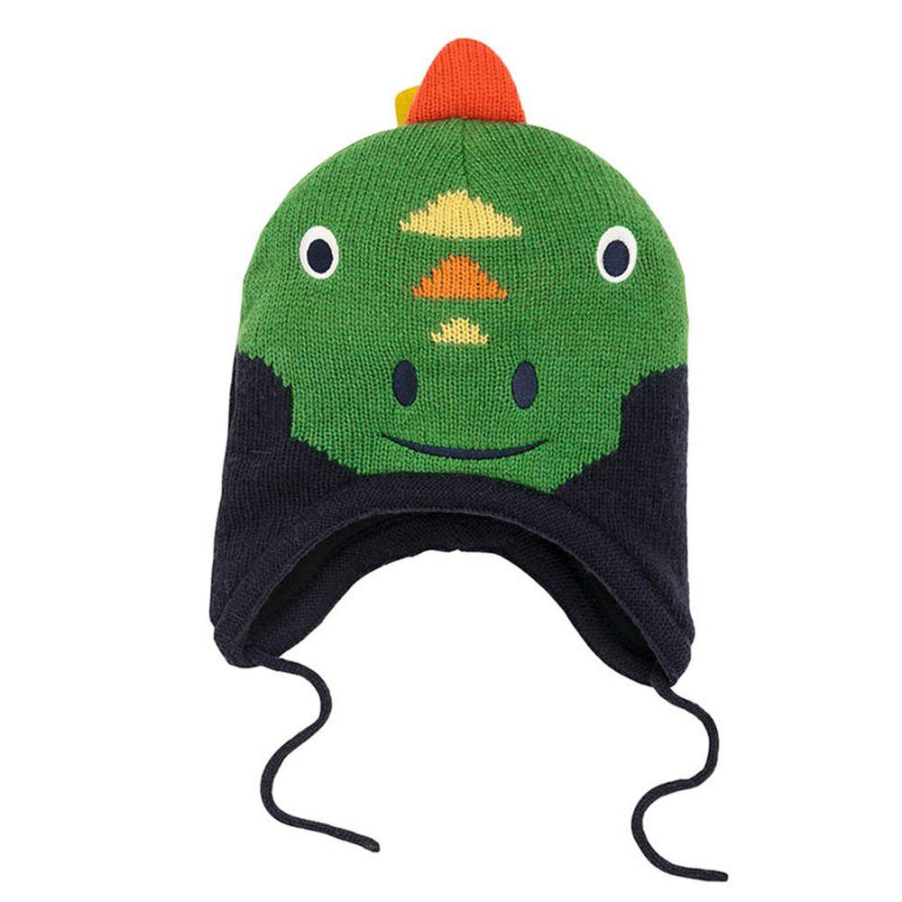 英國 JoJo Maman BeBe - 保暖舒適羊毛帽-綠恐龍