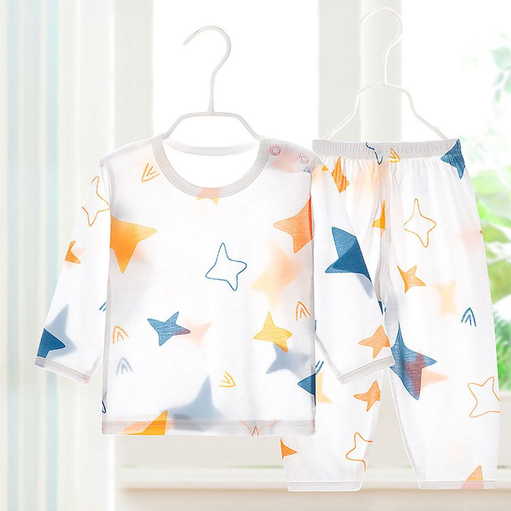 超薄款竹纖維睡衣家居服套裝-藍橙星星