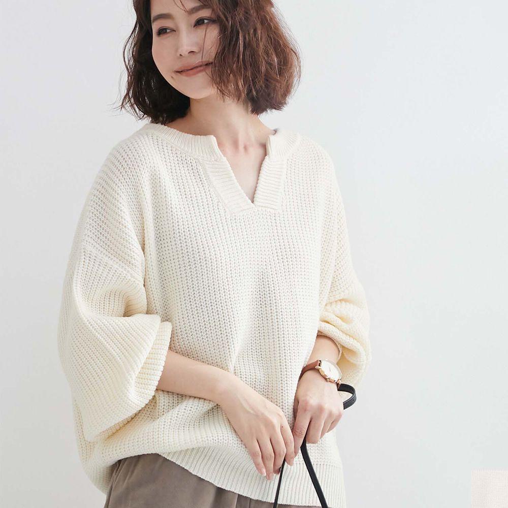 日本女裝代購 - 優雅小V領寬鬆針織上衣-米白 (M(Free size))