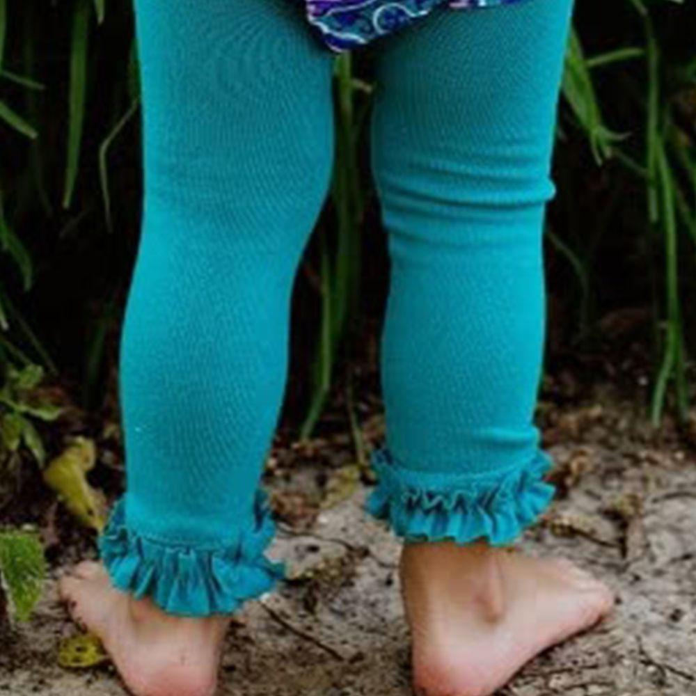 美國 RuffleButts - 小公主甜美荷葉邊內搭褲(襪)-湖水綠